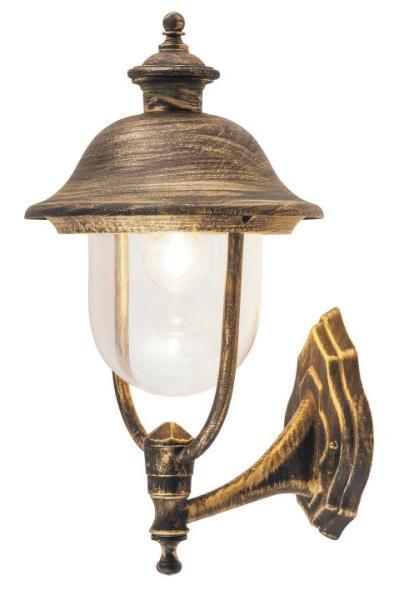 New York Außenwandleuchte klassisch Metall/Kunststoff antikgold Außenlampe Wandlampe E27 100W