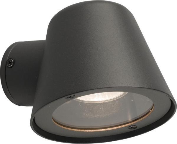 SOUL Außenwandleuchte modern Metall/Glas grau Außenlampe Wandlampe GU10 35W