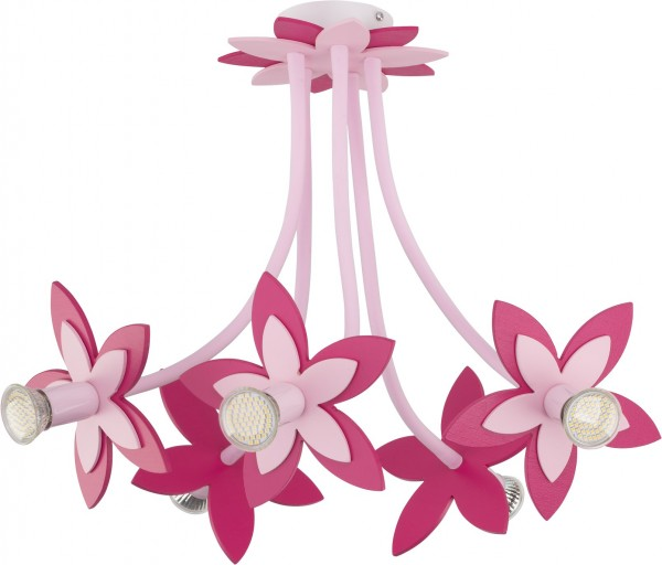 Kinderzimmerlampe Mädchen 5 flammig rosa mit Blumen-Design