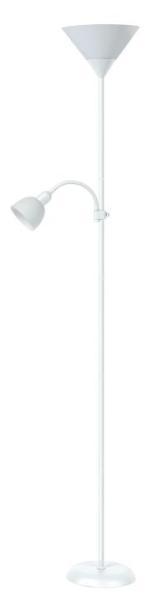 Stehlampe weiß mit Leselampe weiß E27