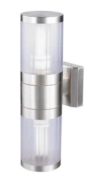 Atlanta Außenwandleuchte modern Metall/Kunststoff edelstahl Außenlampe Wandlampe E27 60W