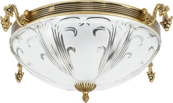 Deckenleuchte Metall Glas 3xE27 gold