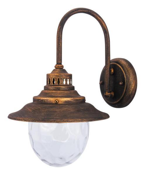 Barcelona Außenwandleuchte klassisch Metall/Glas antikgold Außenlampe Wandlampe E27 60W