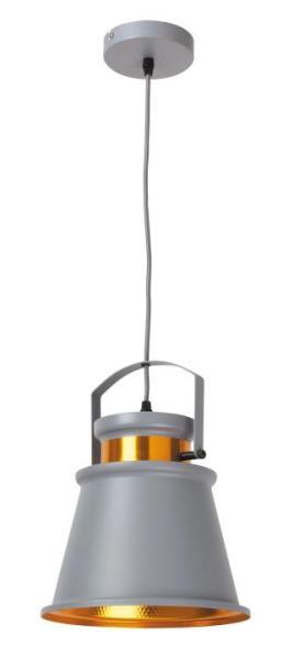Dusan Pendelleuchte Industriedesign Metall grau/gold Hängelampe Pendellampe Deckenlampe E27 40W