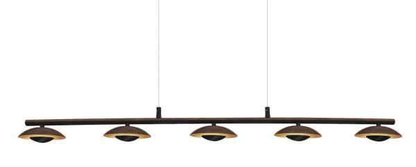 LED Deckenleuchte 5W 5 flammig braun/gold warmweiß