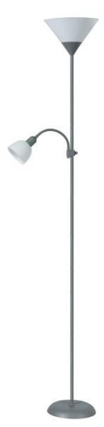 Stehlampe weiß mit Leselampe silber E27