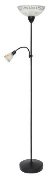 Stehlampe mit Leselampe braun Metall E27+E14