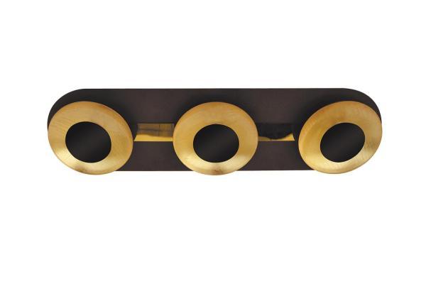 LED Deckenleuchte 5W 3 flammig braun/gold warmweiß
