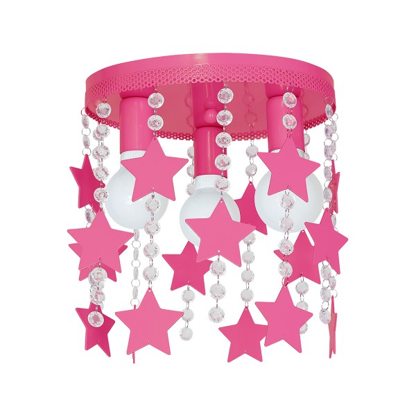 Kinderzimmerlampe STAR pink aus Metall/Kristall