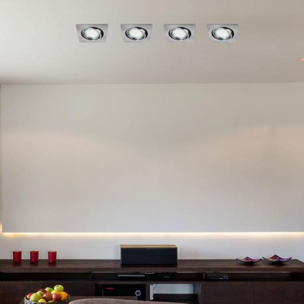 LED Einbaustrahler Set, warmweiß, GU10, eckig, chrom matt, beweglich
