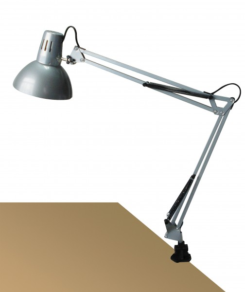 Schreibtischlampe klemmbar silber Metall E27 Arno