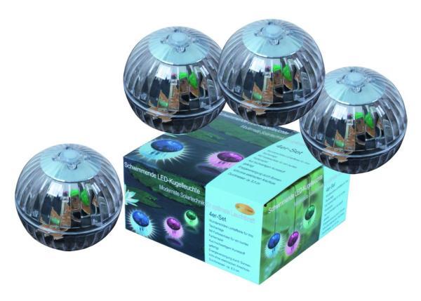 LED Solar-Kugelleuchte schwimmend 4er Set Dekoleuchte Kunststoff
