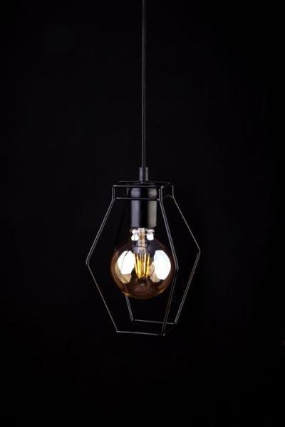 Pendelleuchte schwarz aus Metall Vintage-Design E27 Trapez
