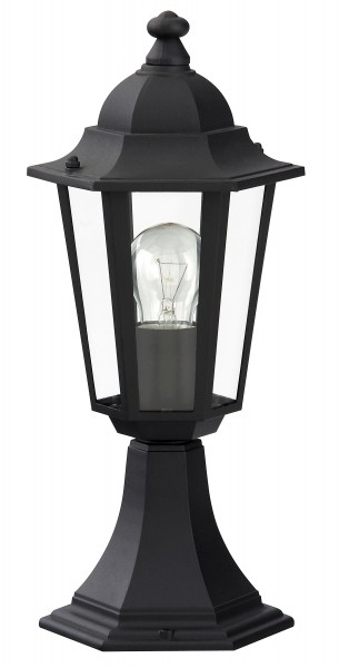 Velence Wegeleuchte klassisch Metall/Glas schwarz Außenleuchte Standleuchte Pollerleuchte E27 60W