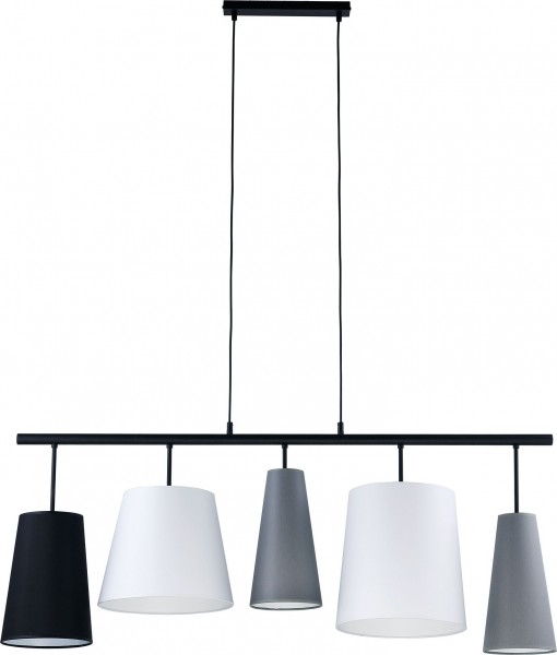 PEDRO Pendelleuchte weiß/grau/schwarz 5-flammig E27 60W