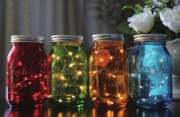 LED Lichterkette im Glas Dekoleuchte Glas/Kunststoff/Eisen