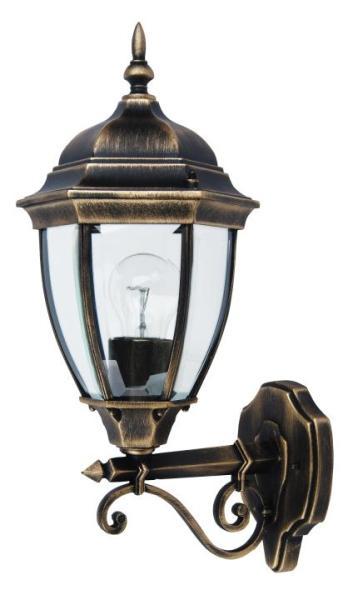 Toronto Außenwandleuchte klassisch Metall/Glas antikgold Außenlampe Wandlampe E27 100W