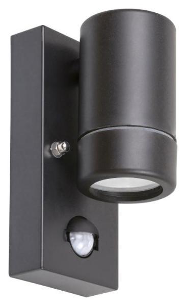 Außenwandleuchte MEDINA schwarz mit Sensor 1-flammig