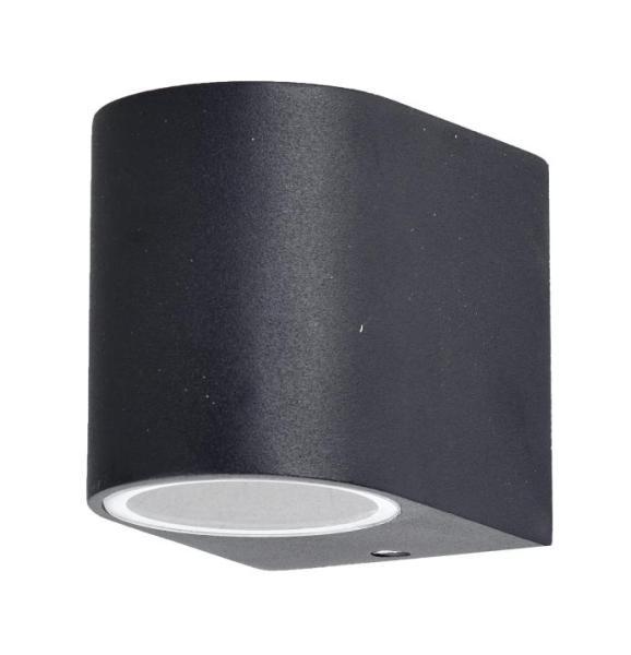 Außenwandleuchte schwarz aus Aluminium-Druckguss/Glas 8cm