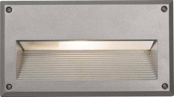 BASALT Außeneinbauleuchte modern Aluminium/PC Silber Einbaustrahler Außenlampe E14 60W