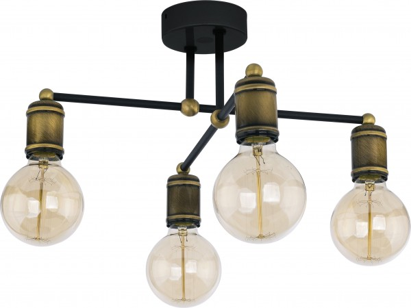 RETRO Deckenleuchte schwarz/gold 4-flammig E27 60W