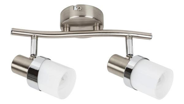 Deckenleuchte chrom matt/chrom/Opalglas Metall Glas E14 2X MAX 40W IP20
