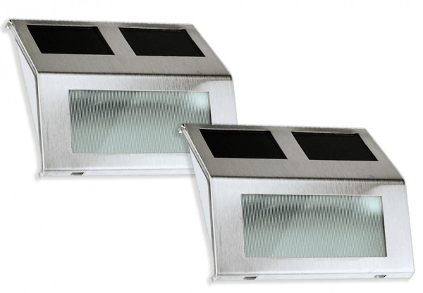 LED Treppenlicht 2er Set Treppenlicht Kunststoff/Edelstahl silber