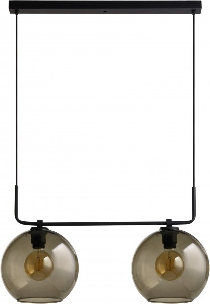 Pendelleuchte aus Glas schwarz 2 flammig E27 MONACO