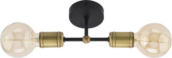 RETRO Tischleuchte schwarz/gold 2-flammig E27 60W