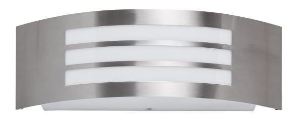 Roma Außenwandleuchte modern Metall/Kunststoff edelstahl Außenlampe Wandlampe E27 14W