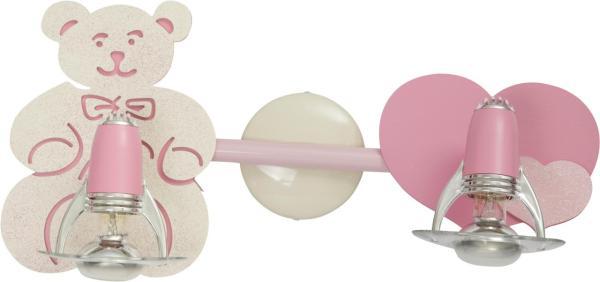 Kinderleuchte rosa Teddy 2xE14/R50