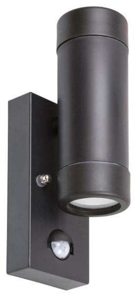 Außenwandleuchte MEDINA schwarz mit Sensor 2-flammig