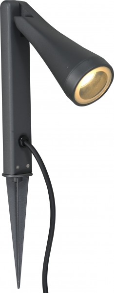 OTTAWA Sockelleuchte modern Aluminium/Glas grau Erdspiess Gartenlampe Gartenleuchte GU10 35W