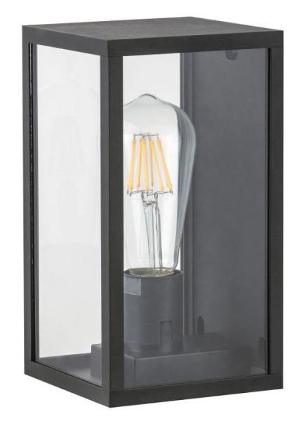 Topeka Außenwandleuchte modern Aluminium/Glas transparent/schwarz Außenlampe Wandlampe E27 60W