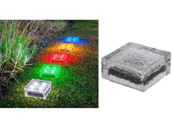 LED Solar-Leuchte ICE CUBE 3er Set Dekoleuchte Echtglas/Kunststoff