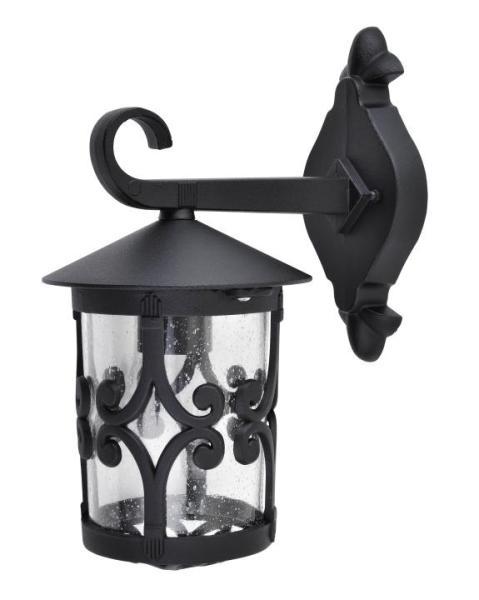 Palma Außenwandleuchte klassisch Metall/Glas schwarz Außenlampe Wandlampe E27 100W
