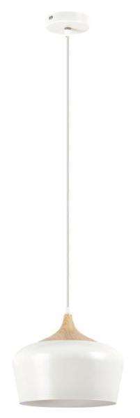 Sadie Pendelleuchte Nordic-Design Metall weiß/buche Hängelampe Pendellampe Deckenlampe E27 60W