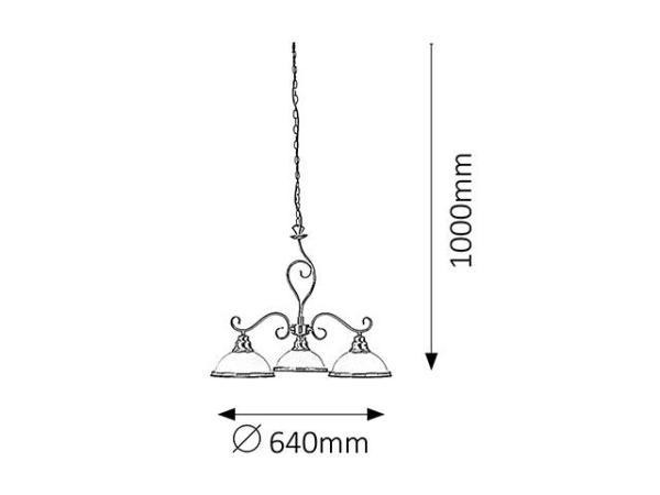 Elisett Pendelleuchte klassisch Metall/Glas bronze/weiß Hängelampe Pendellampe Deckenlampe E27 60W