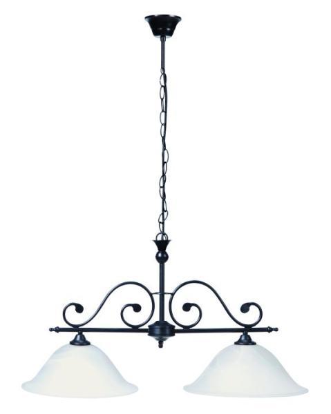 Pendelleuchte aus Glas 2 flammig schwarz E27 mediterraner Stil