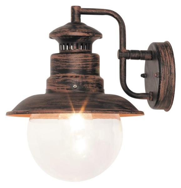 Odessa Außenwandleuchte klassisch Metall/Kunststoff antikbraun Außenlampe Wandlampe E27 60W