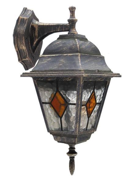 Monaco Außenwandleuchte klassisch Metall/Glas antikgold Außenlampe Wandlampe E27 60W