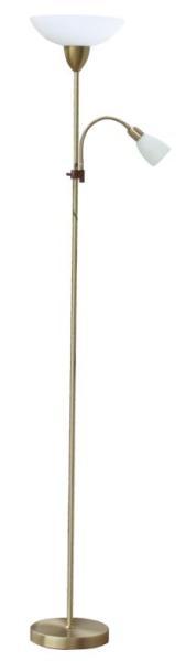 Stehlampe weiß mit Leselampe bronze E27