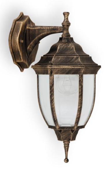 Nizza Außenwandleuchte klassisch Metall/Glas antikgold Außenlampe Wandlampe E27 60W