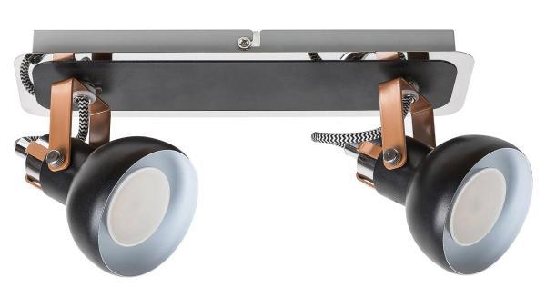 Deckenleuchte matt schwarz/champagner/chrom/schwarz/weiss Metall GU10 2X MAX 35W IP20