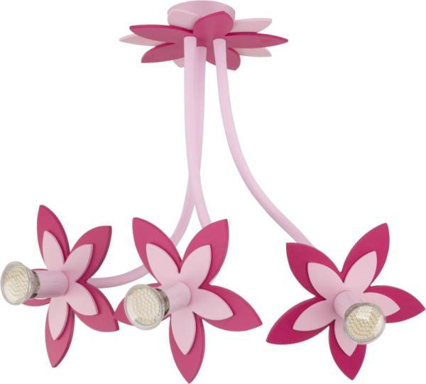 Kinderzimmerlampe Mädchen 3 flammig rosa mit Blumen-Design GU10