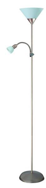 Stehlampe weiß mit Leselampe chrom matt E27