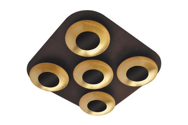 LED Deckenleuchte 5W 5 flammig braun/gold warmweiß eckig
