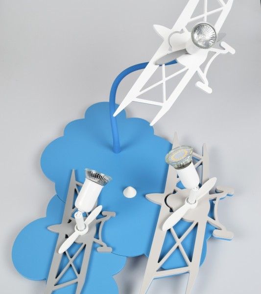 Kinderzimmerlampe Junge, blau, im Flugzeug-Design, 3 flammig
